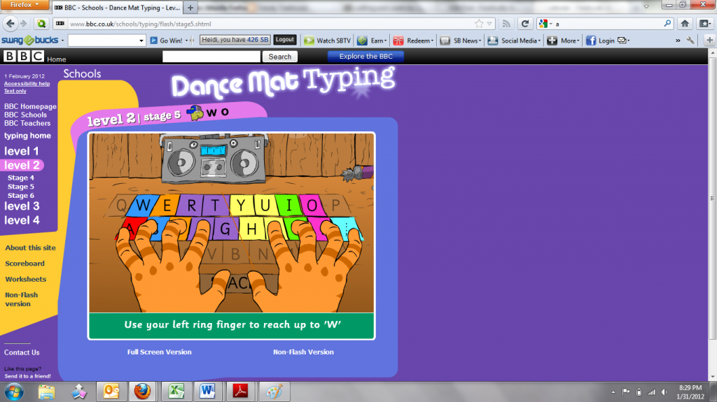 Bbc Schools Dance Mat Typing Level 1 Stage 1 Images